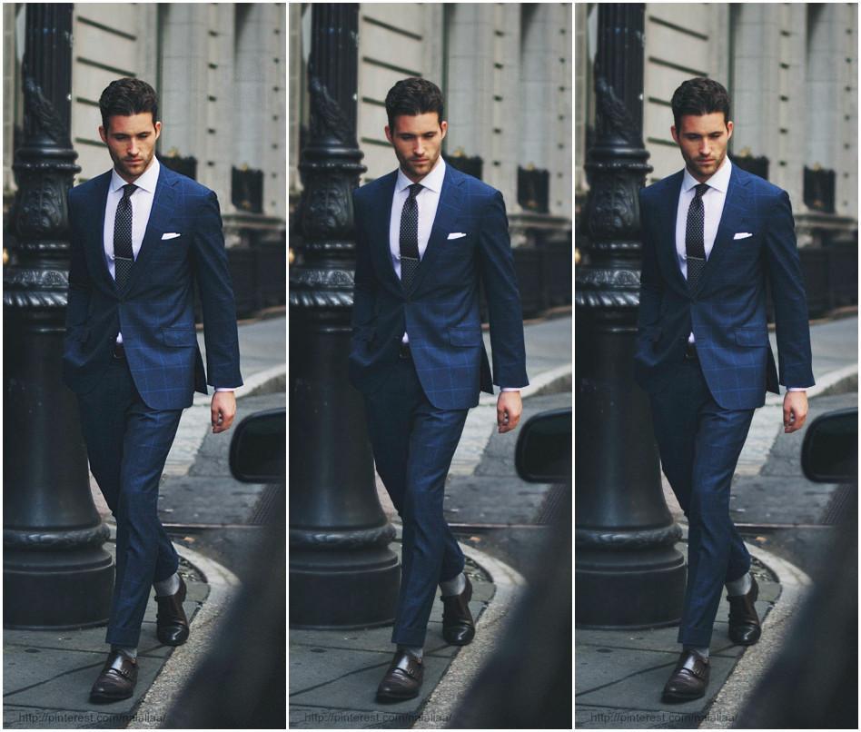 Hot Sale Grid Slim Fit Groom Tuxedos Navy Blue Handsome Men's Suits For Wedding Best Men's Suit For Bridegroom Jacket+Pants+Tie Exquisite