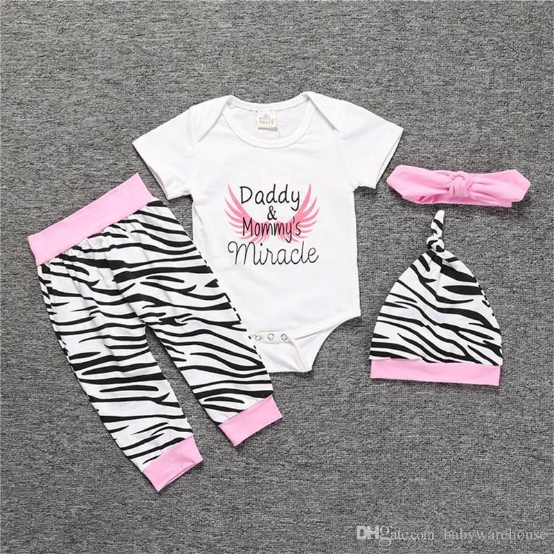 Babykleidung Set Kleinkind Kleidung Baumwolle Strampler + Zebra Hosen + Hut + Bogen Stirnband 4 STÜCKE Papa Mamas Wunder Kinder Mädchen Outfits