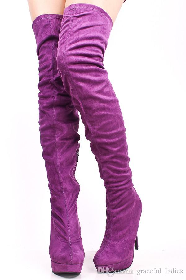 Purple Thigh High Heel Boot For Women Shoes Lady Suede Boot High Heel Handmade Sexy Over The Knee Shoes Leather Boots Women New Arrival 2015