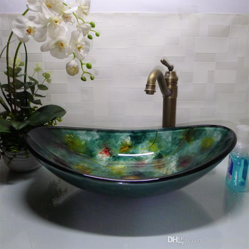 Bathroom tempered glass sink handcraft counter top boat-shaped basin wash basins cloakroom shampoo vessel sink HX017