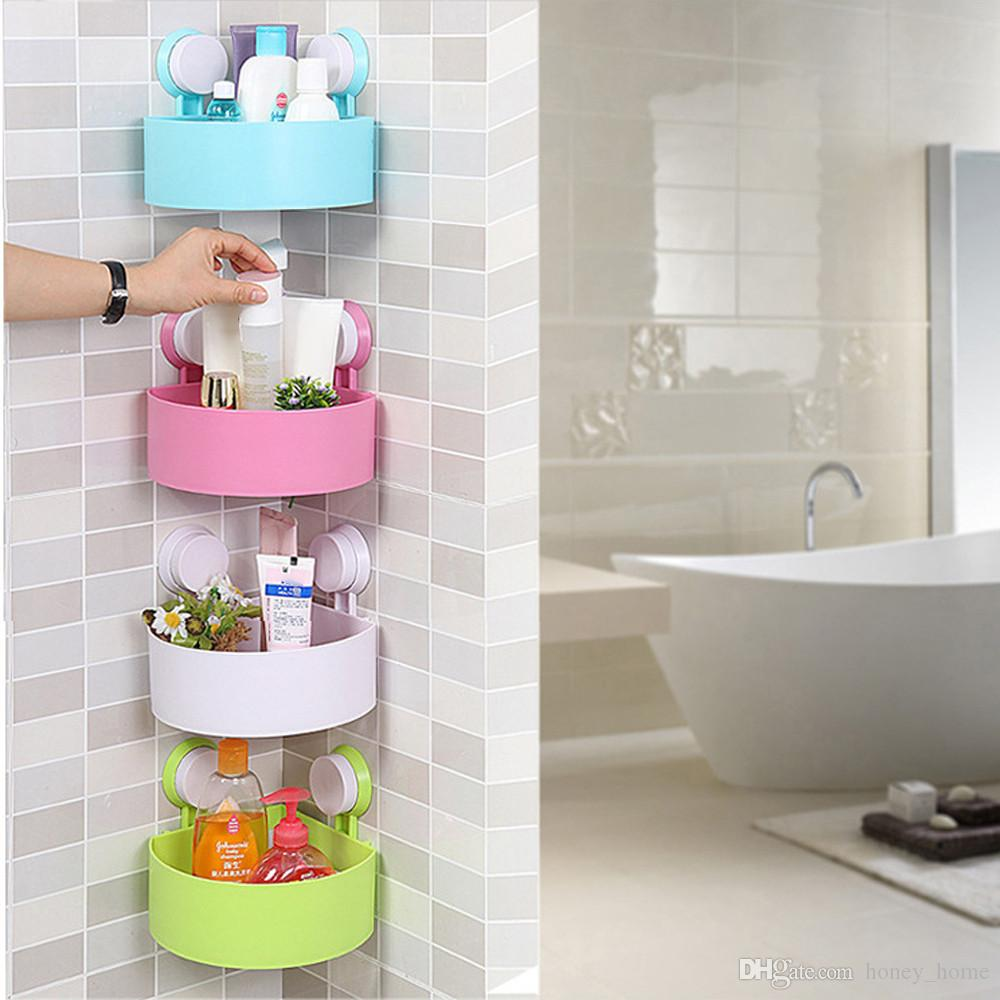 Wall Mounted Bathroom Corner Shelf Sucker Suction Cup Plastic Shower Basket  Kitchen Wall Rack Shower Room Holder Four Colors Wall Mounted Bathroom Shelf  ...