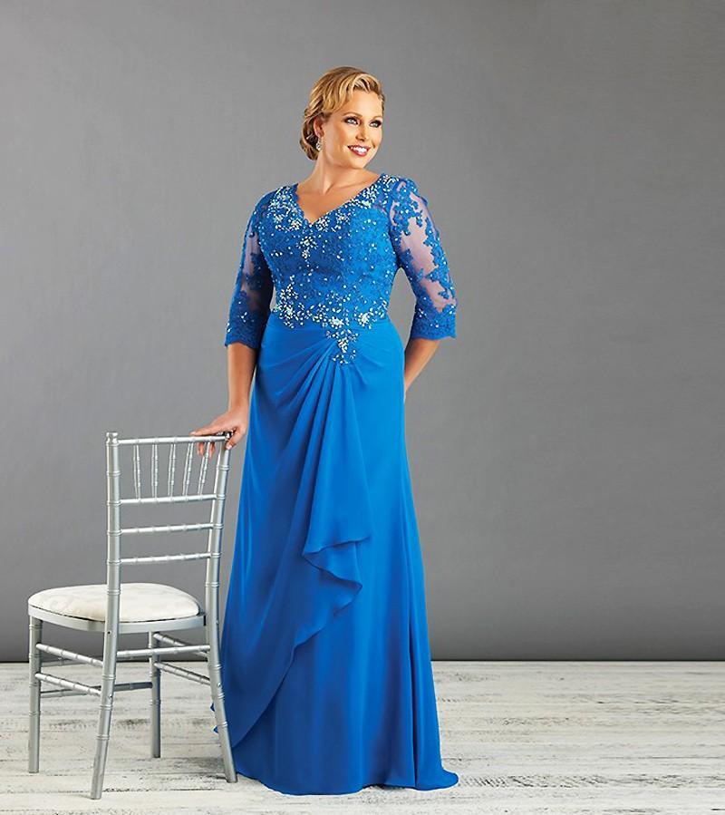 플러스 사이즈 특별한 날 드레스 크리스탈 레이스 브이 넥 3 / 4 소매 다시없는 이브닝 가운 신부의 쉬폰 층 길이의 어머니