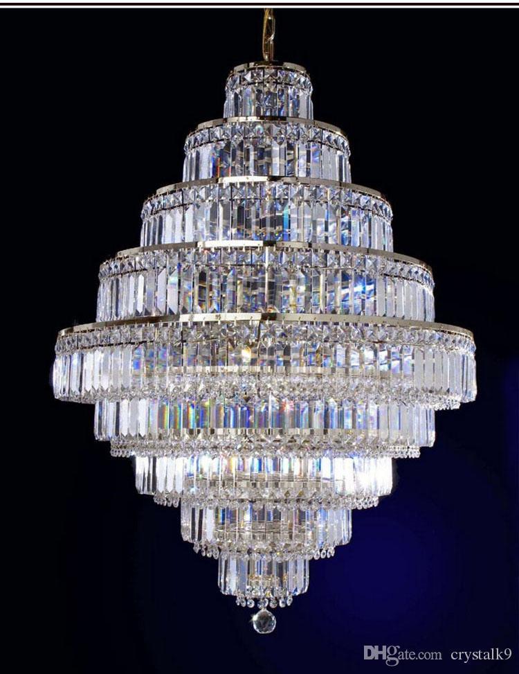 Modern K9 Crystal Chandeliers Luxury Elegant Clear K9 Crystal Light Villa Hotel Living Room Crystal Lighting Fixture