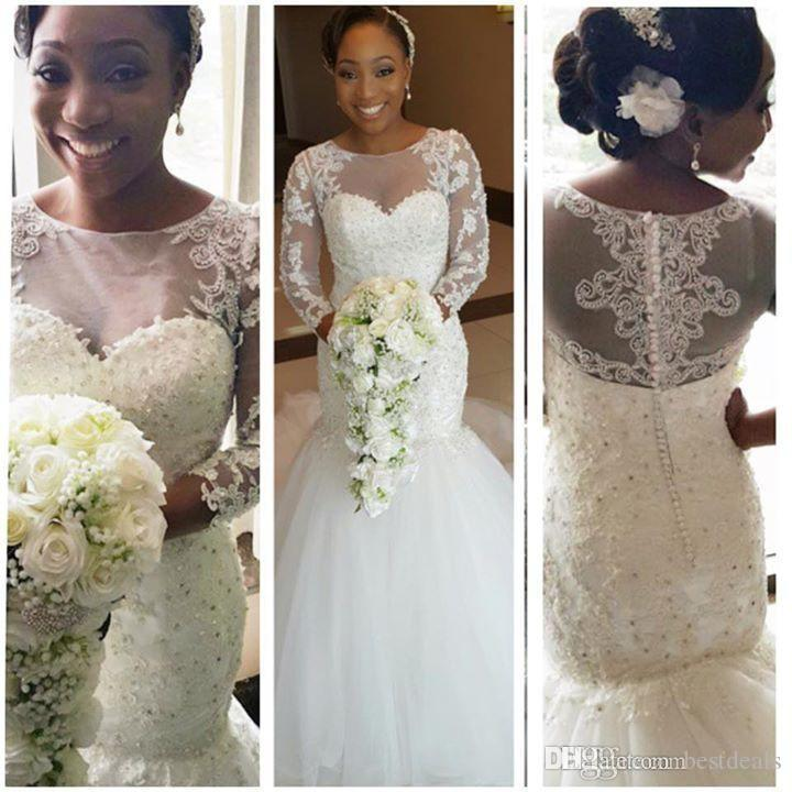 2016 African Long Sleeves Lace Mermaid Wedding Dresses with Court Train Appliques Sheer Crew Neck Plus Size Wedding Gowns Vestidos de Novia