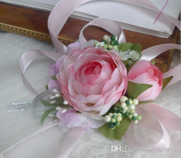 Red White Purple Pink Blue Wedding Wrist Flower Hand Made Artificial Rose Bouquet Bride Bridesmaid Bridal Decoration Accessories BF01