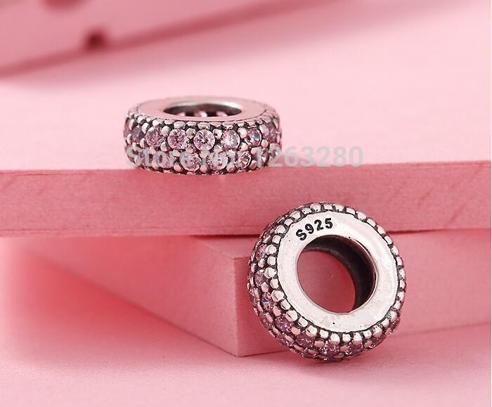 Pandora spacer soyut gümüş bilezikler uyar yeni pembe zirkon 100% 925 ayar gümüş takı DIY IÇIN YÜN