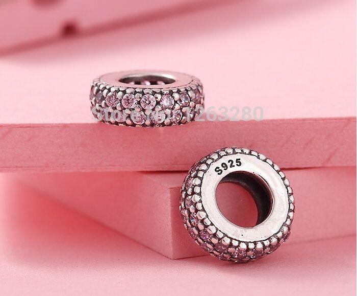 Se adapta a Pandora spacer pulseras de plata abstracta nueva circonita rosa 100% 925 joyas de plata esterlina DIY PARA WOEN