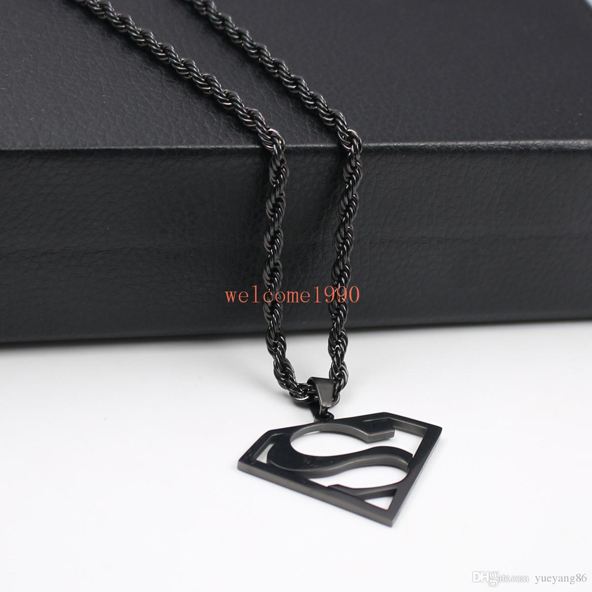 choose Gold silver black Stainless Steel 1.5 inch Superman logo Pendant Men's Gifts Fashion Rope chain necklace 22 inch 4mm