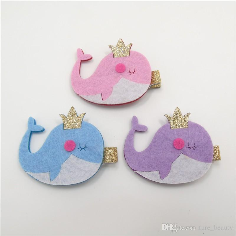SALE! Felt Glitter Dolphin Hair Clips Pink Blue Purple Cartoon Hairpin Cute Fashion Animal Hairpins Girls Pretty Kid Tiara Hair Grips