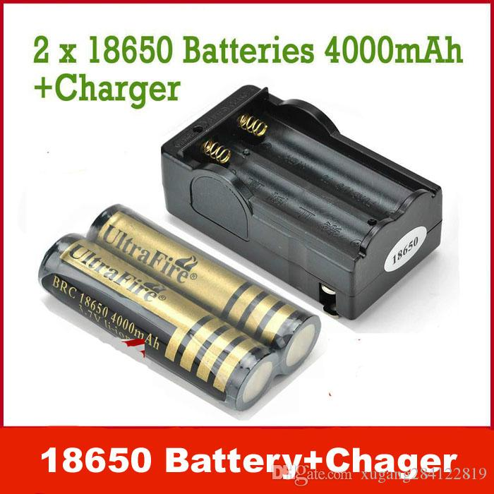 Excellent UltraFire 18650 Lithium Ion 3.7v 4000 mAh Rechargeable Batteries + Charger