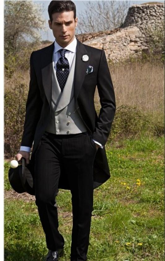 Custom Made Slim Fit Manhã Estilo Noivo Smoking Pico Lapela Terno Dos Homens Padrinho de Casamento / Melhor Homem de Casamento / Ternos de Baile Jaqueta + calça + Gravata + Colete J990