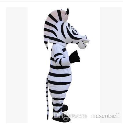 Alta qualidade Zebra Mascot Animal Dos Desenhos Animados Trajes Da Mascote Halloween Costume Fany Vestido Adulto Tamanho Frete Grátis