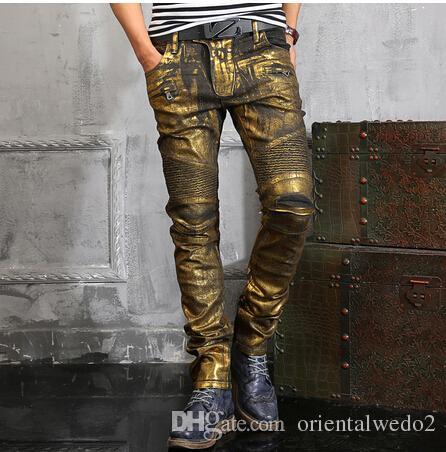 63dd19c988158 2019 NWT BP Men S Fashion Runway Shiny Golden Coated Oiled Stretch Slim  Black Biker Washed Jeans Size 28 38 From Orientalwedo2