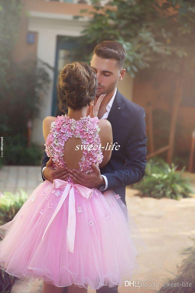 Cute Pink Short Prom Dresses Ball Gown Tulle Handmade Flower Bead Backless Halter Mini 2016 Cheap 8th Grade Homecoming Wedding Party Dresses