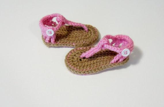 Baby sandals, crochet baby sandals, baby flip flops, crochet sandals, sandals, pink sandals, girls sandals, girls crochet sa 0-12M customize