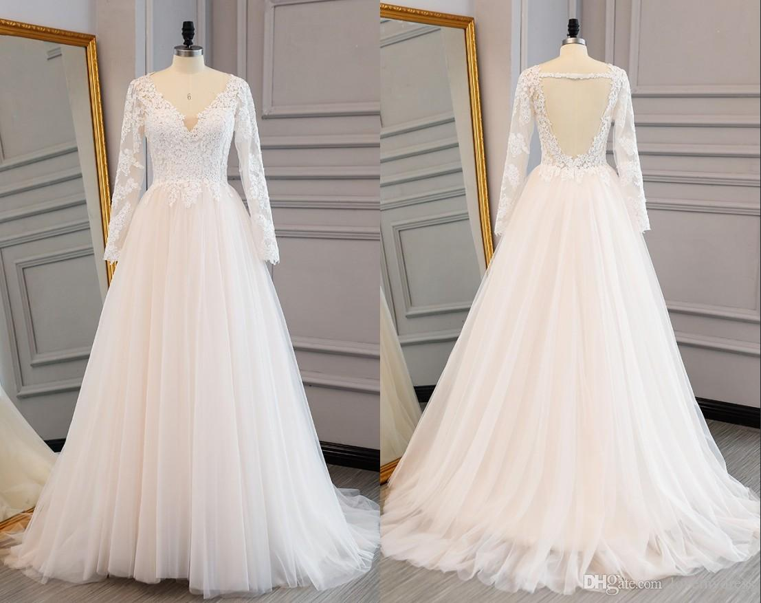 Discount 2018 Vintage A Line Lace Wedding Dresses With Illusion Long ...