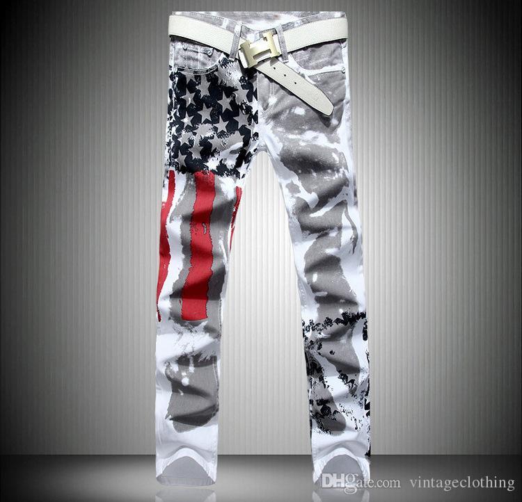 El diseñador de moda para hombre caliente de los pantalones vaqueros de los hombres de mezclilla con alas bandera americana más tamaño