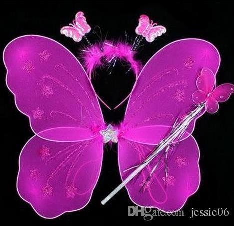 Девушка фея ангел бабочка крылья перо sheer оголовье палочки набор Рождество Хэллоуин принцесса дети дети партия COS производительность реквизит