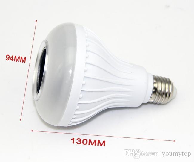 Free DHL Wireless Bluetooth 6W LED Speaker Bulb Audio Speaker E27 RGB Music Playing Lighting With 24 Keys IR Remote Control