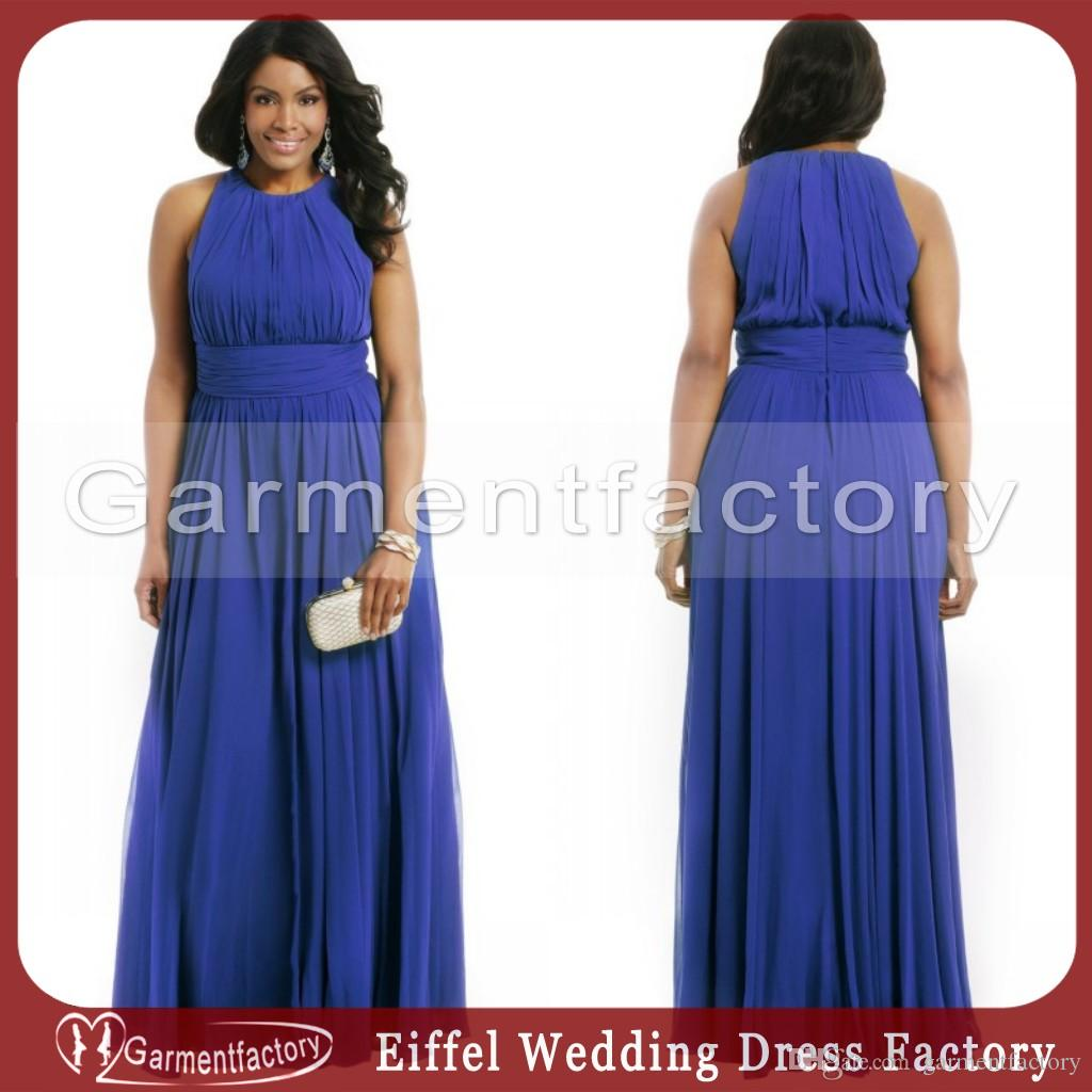 Royal Blue Plus Size Formal Dresses Evening High Neck A Line Full ...