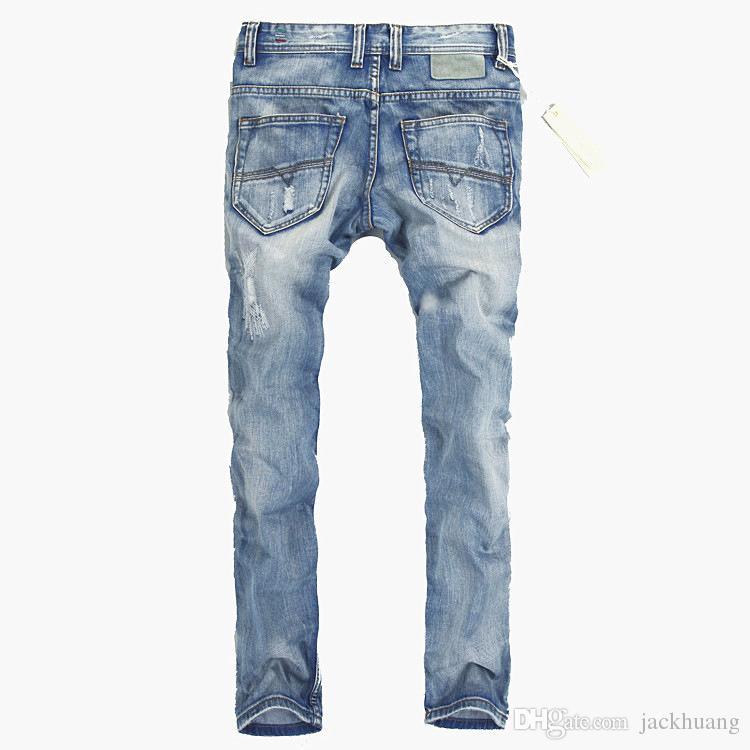 Оптовая Италия мода дизайнер мужские джинсы Марка Рваные Джинсы для мужчин случайные бизнес брюки