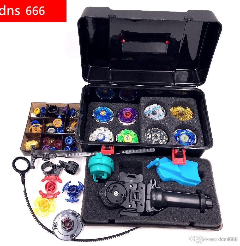 beyblad more that 20 spare parts + 8 beyblades +1grip+3launchers + beyblade box