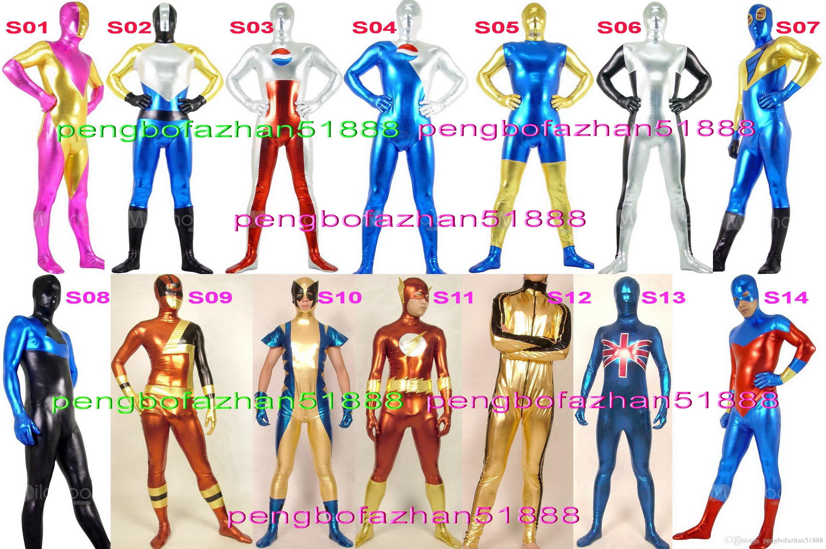 Unisex Superhero Suit Outfit New 14 Style Shiny Lycra Metallic Super ...