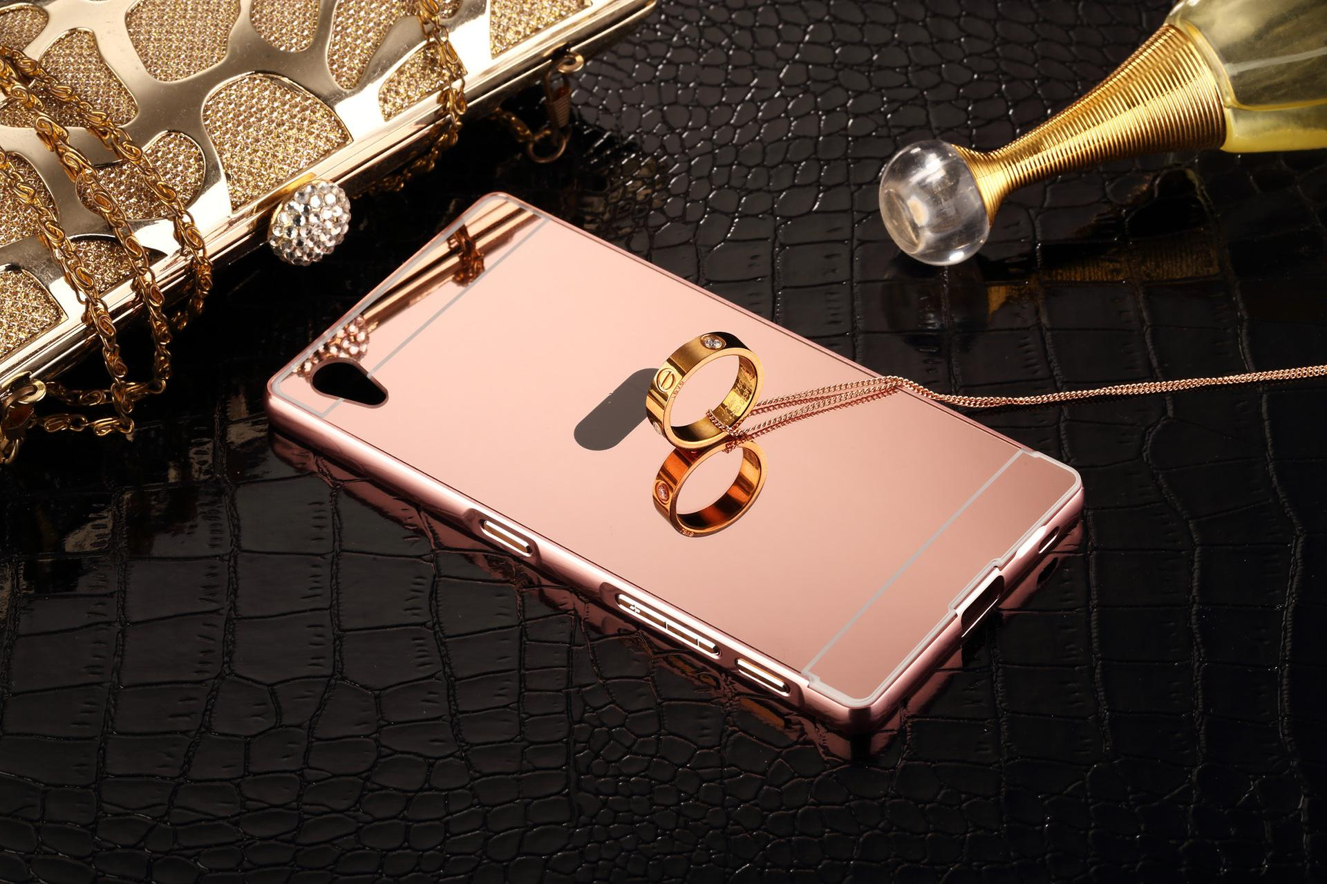 Mirror Luxury Metal Aluminum Bumper Frame PC Back Cover for Sony Xperia Z Z1 Z2 Z3 Z4 Z5 Z3 PACT Z5 PACT M4 M5 C5 line with $2 08 Piece on