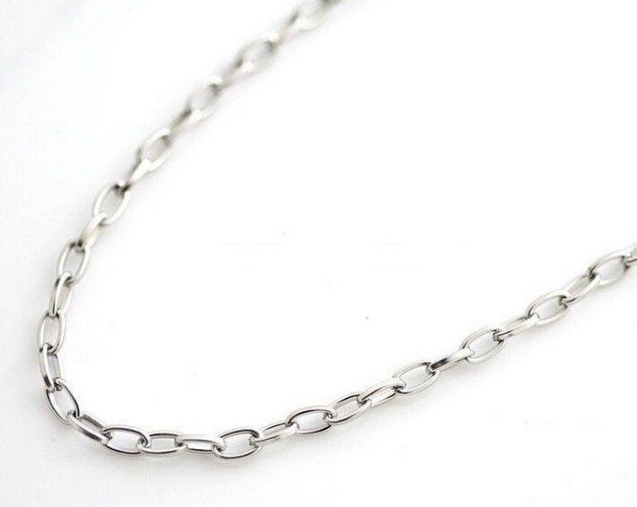 En gros 5 mètre / 4mm Bijoux de mode Trouver en acier inoxydable Argent lisse Ovale Lien Chaîne Trouver / Marquer DIY Collier Bracelet