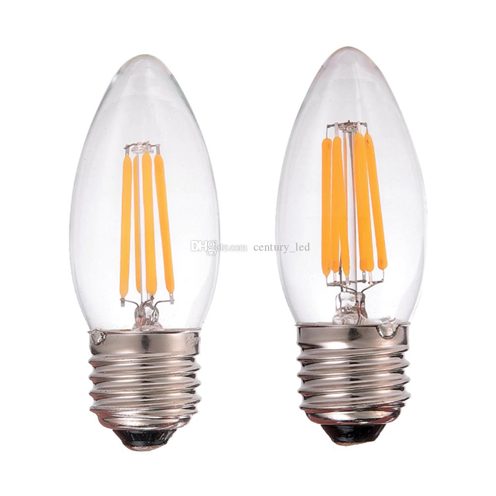 Retro led filament light bulb2w 4w 6wsoft whitee26 e27edison retro led filament light bulb2w 4w 6wsoft whitee26 e27edison chandelier candle styledimmable led lamp chandelier candle bulb led bulb light online with arubaitofo Image collections