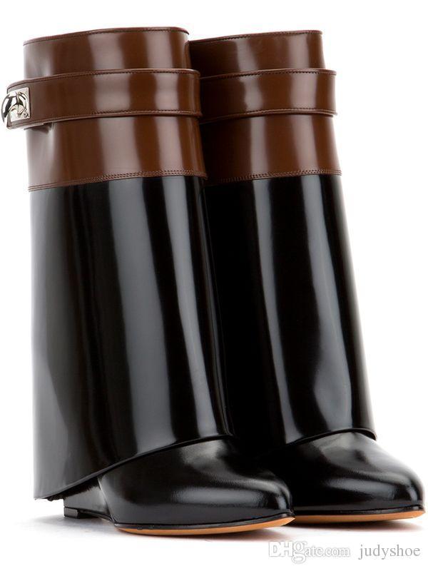 2018 Shark Lock папка середины икры женщины Клин сапоги высота увеличение высокие каблуки обувь высокого качества Мартин слой сапоги женщины
