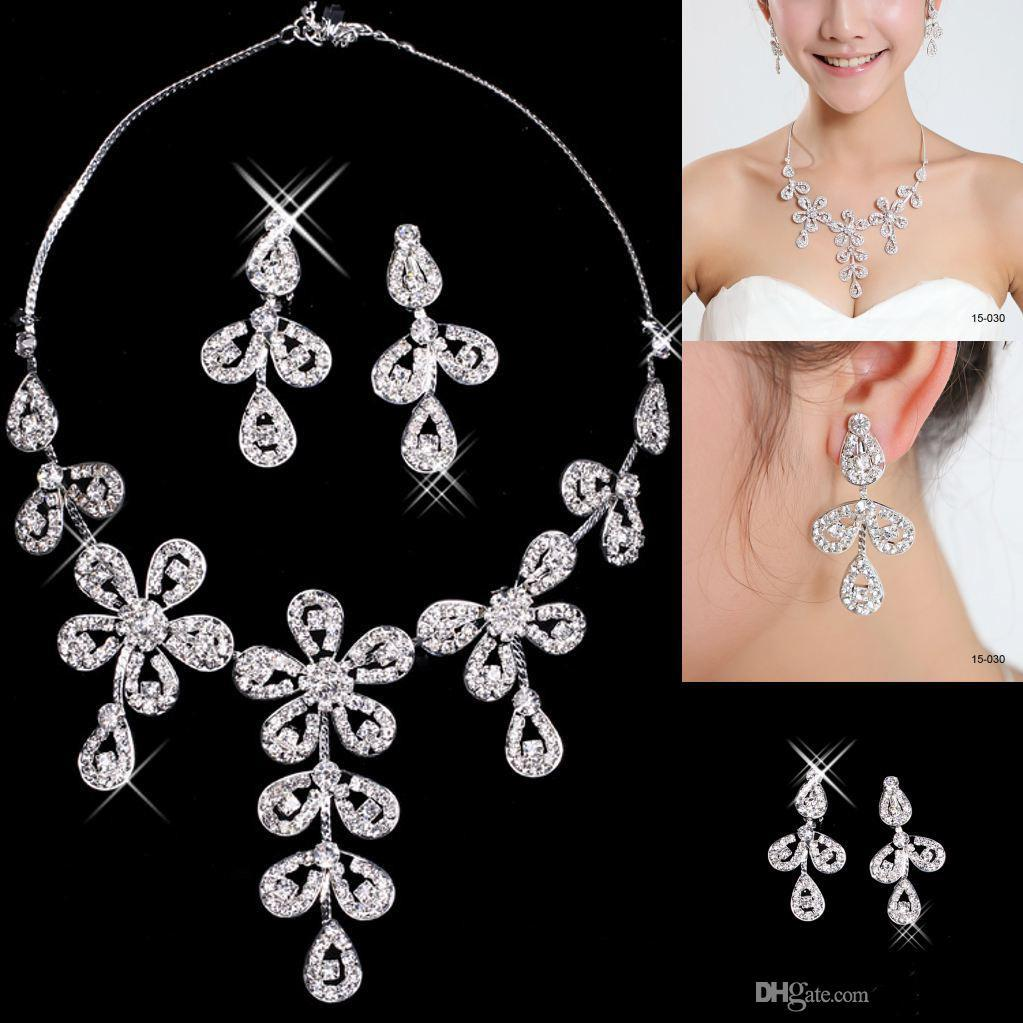 Cheap Flower Wedding Bridal Jewelry For Prom Party Dresses