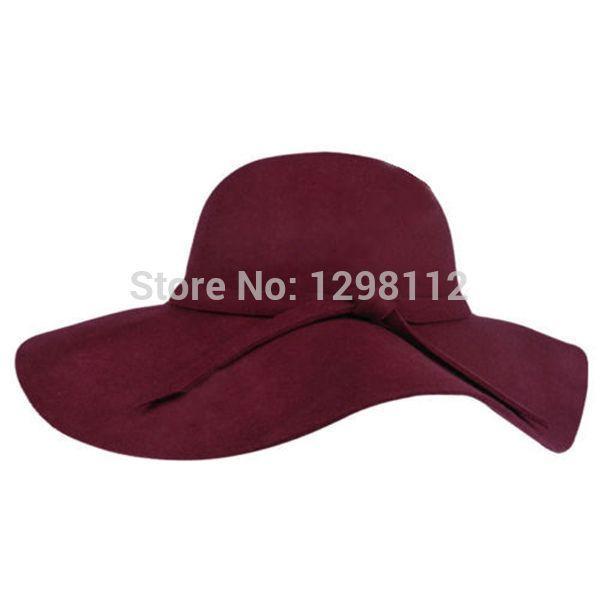 f341091477559 Wholesale-New Fahion Women s Wide Brim Hat Wool Felt Bowler Fedora ...