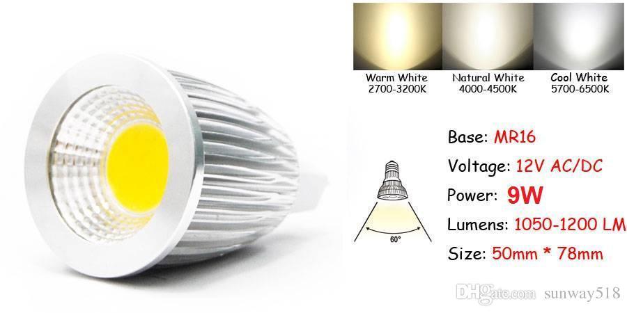 LED spotlight Super bright COB GU10 Led 9W bulbs light 60 angle dimmable E27 E26 E14 MR16 warm/pure/cool white