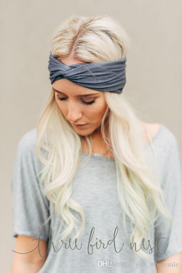 Ventas calientes Nuevo es Torcedura Sólida Moda Deportiva Yoga Vendas Elásticas Mujeres Turbante Bandana Head wrap Accesorios para el Cabello
