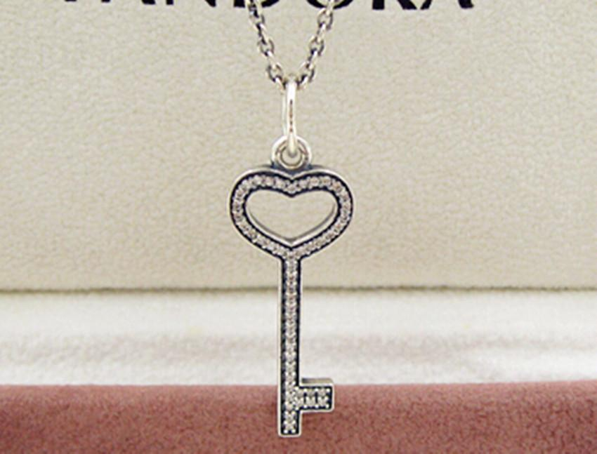 Wholesale 100 925 sterling silver key necklace pendants with cubic wholesale 100 925 sterling silver key necklace pendants with cubic zirconia fits european pandora style jewelry bead and charms silver heart pendant mozeypictures Images