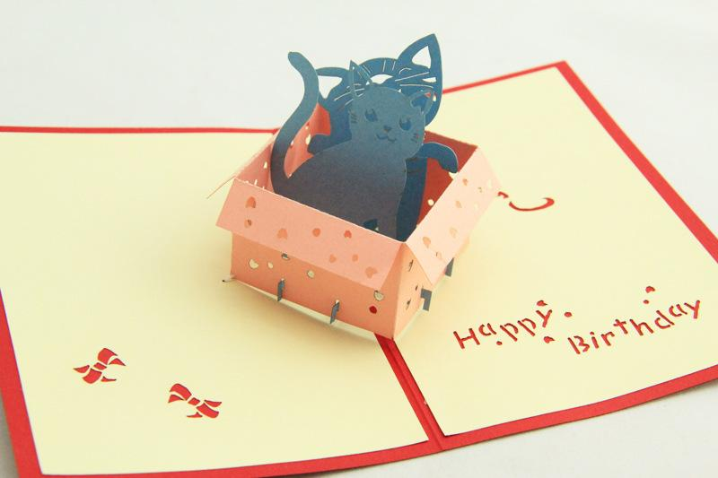 Greenfox Birthday Card Little Cat Box Invitations Delicacy Gift Handmade Creative 3D Cards Pop UP 3DHK035 Free Greeting Online