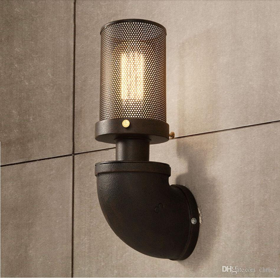 Retro American Country Iron Art Wall Light RH Loft Antique Color Wall Sconce E27 Edison Lighting Outdoor/Indoor Industrial Lamp