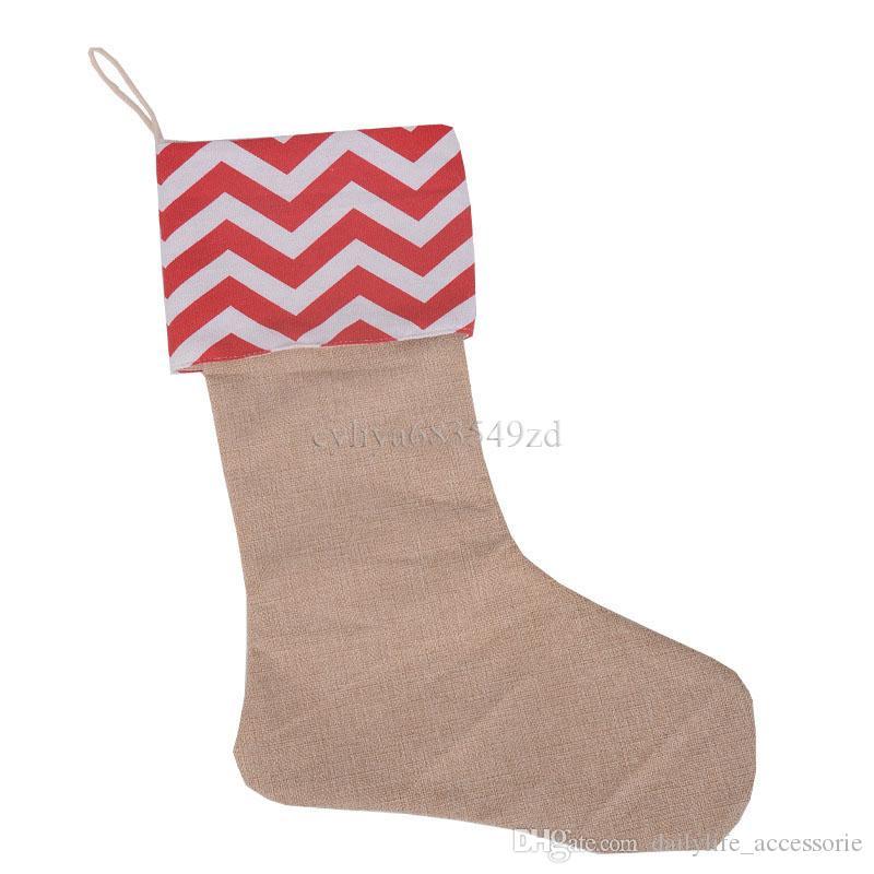 12 * 18 inç yüksek kalite 2017 tuval Noel çorap hediye çanta tuval Noel Noel çorap Büyük Boy Düz Çuval dekoratif çorap çanta