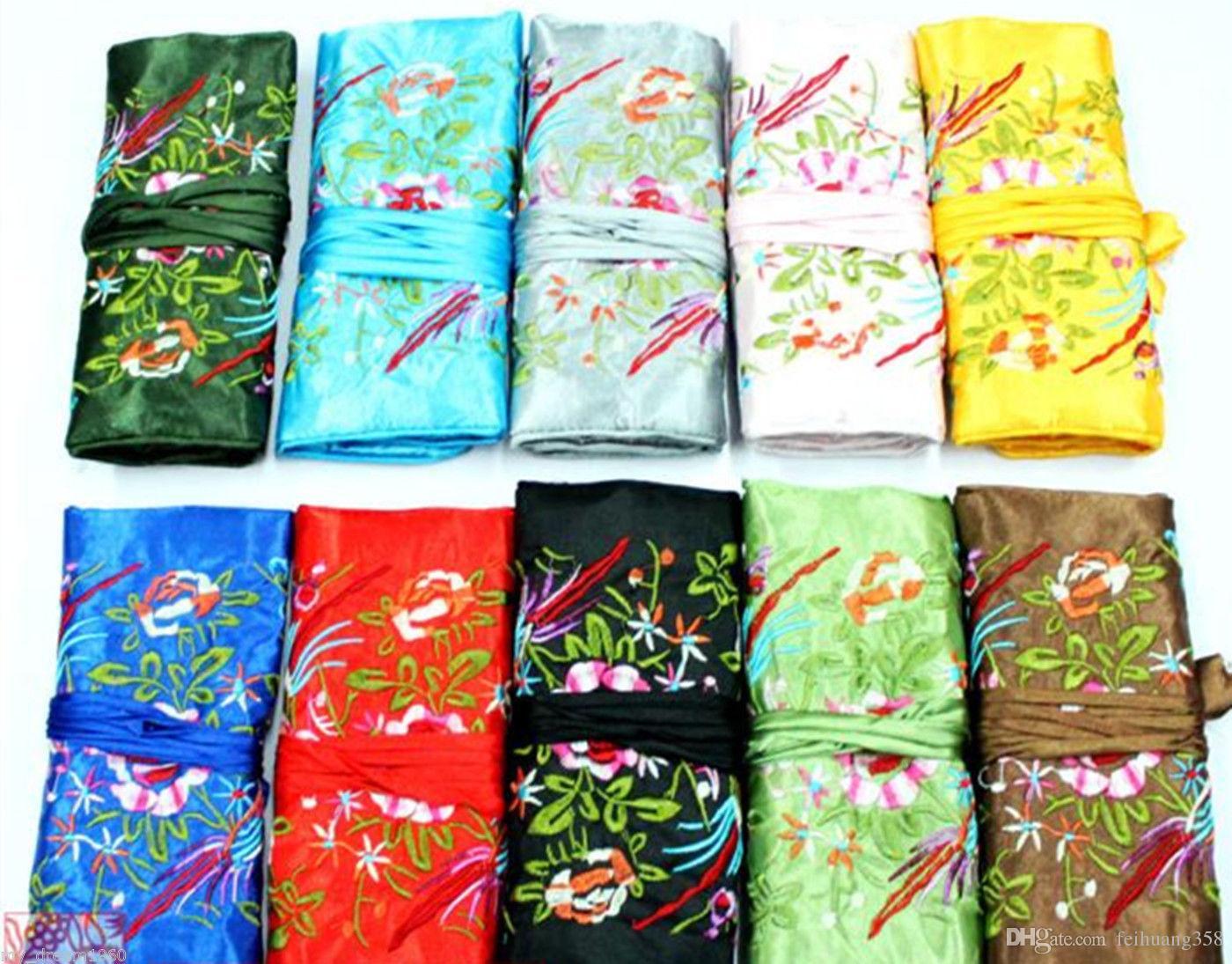 Toptan 10 adet Ipek Brokar Seyahat Çantası Takı Rulo Kılıfı Çanta Moda Hediye