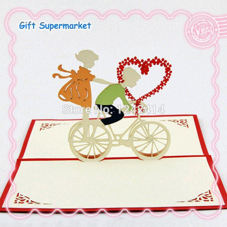 Romantic love greeting cards couple ride the bike 3d pop up handmade romantic love greeting cards couple ride the bike 3d pop up handmade creative gift cards for wedding birthday valentines day gift card reader card m4hsunfo