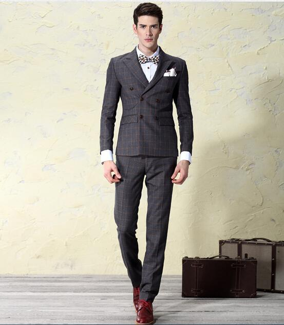 2017 Double Breasted Suit Male Autumn Vintage Mens Wedding Dress ...