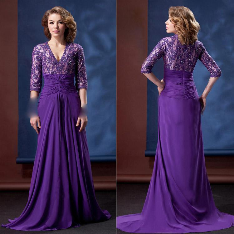 Hot V Neck With 3/4 Long Sleeves Plus Size 2017 Sexy Dress Purple ...