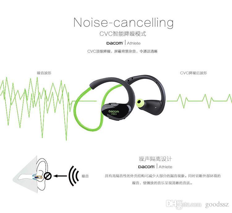Dacom Atleta Esportes Fone de Ouvido Fones de Ouvido Sem Fio Bluetooth 4.1 Gancho Ear Headphones Suor-prova Handfree com MIC NFC para o iPhone Samsung
