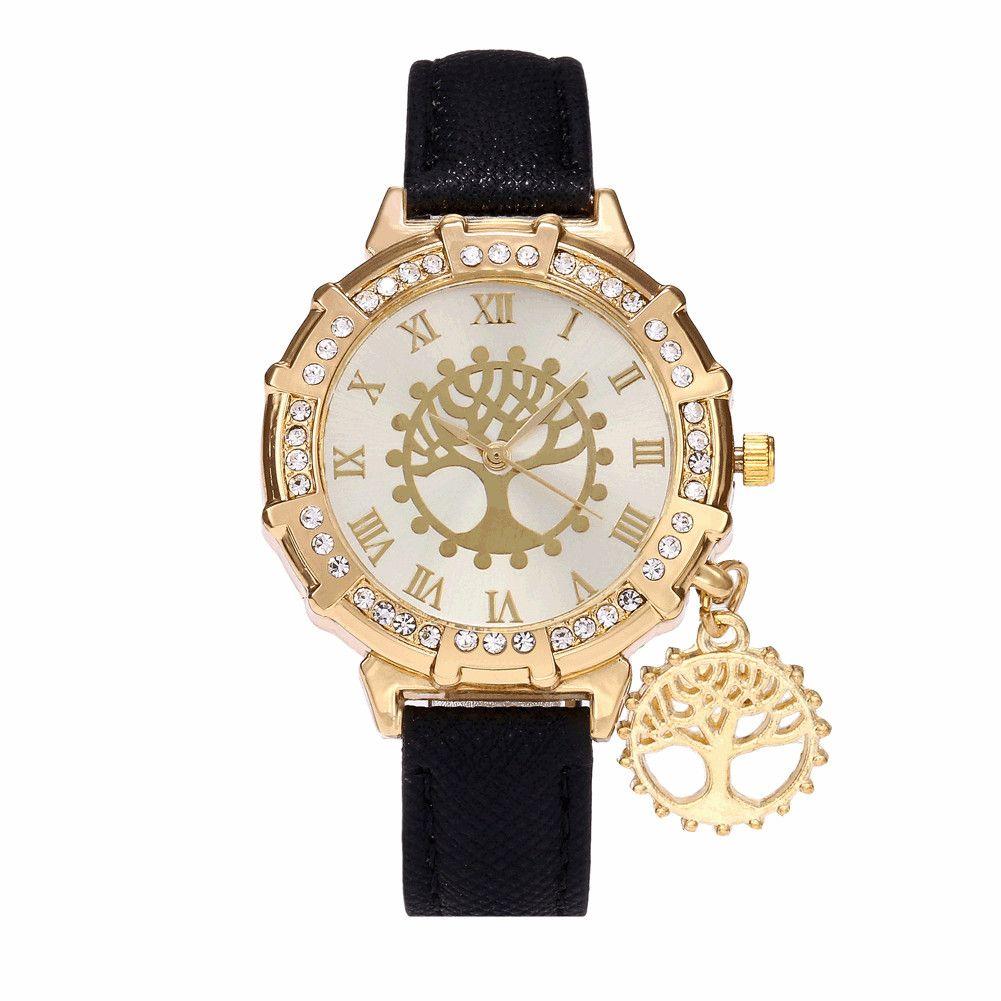 6e1cfdd8e56 Compre Design De Moda Mulheres Relógios De Natal Desejando Vida Árvore Luxo  PU De Couro De Quartzo Relógios De Pulso Vestido Ocasional Senhoras Reloj  De ...