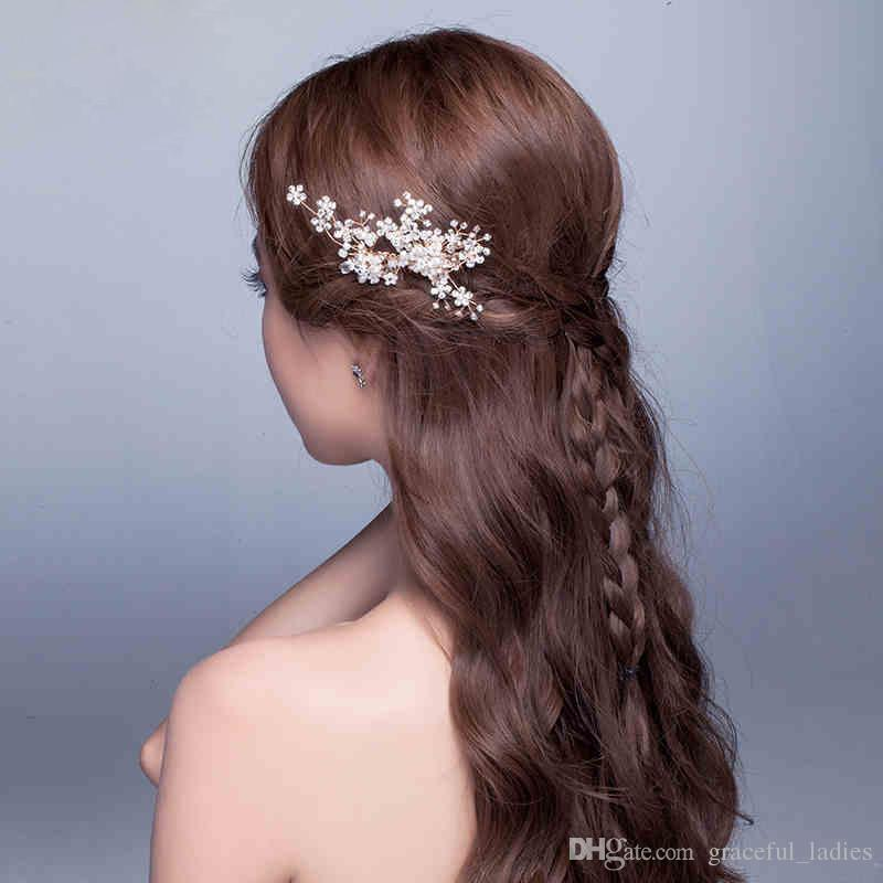 Gold Hair Combs Handmade Bridal Tiaras Accessories Side Wear Wedding Headwear Head Pieces High Quality Clips Wholesale
