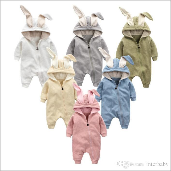 9057f87ebaa8 2019 Baby Clothes Rabbit Ears Rompers Toddler Zipper Rompers Newborn  Onesies Winter Cartoon Jumpsuits Kids Cotton Bodysuits Fashion Overalls  3620 From ...
