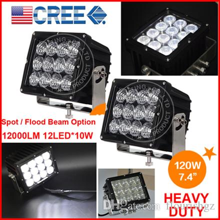 """EMS 7.4"""" 120W CREE 12LED*10W Driving Work Light Offroad SUV ATV 4WD 4x4 Spot / Flood Beam 9-60V 12000lm Heavy Truck Forklift Bright"""