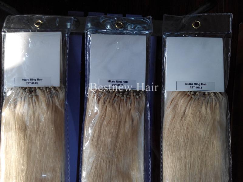Расширения Micro Ring первоклассный Loop Beads Remy человеческих волос 18