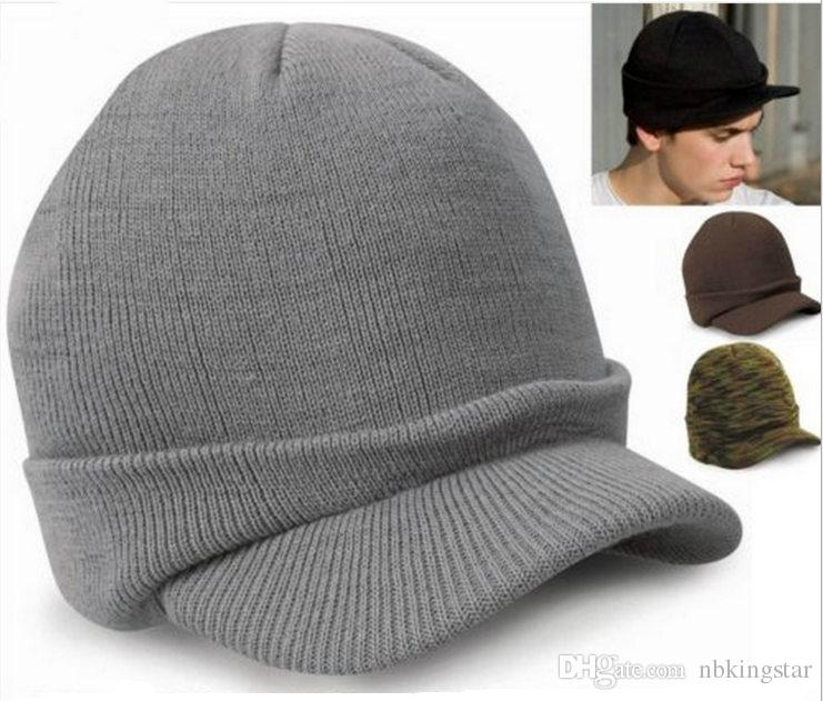 Unisex Army Peaked Brim Knitted Beanies Skullies Hat Winter Warm Woolen Crochet Hats Outdoor Ski Snow Caps